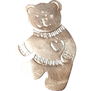 Large Sterling Silver Teddy Bear Brooch