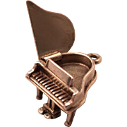 Signed Beau Solid Sterling Silver Articulated Piano Charm