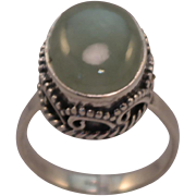 Large Oval Jade Cabochon Sterling Silver Ring size 10.25