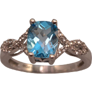 Bright Blue Checkerboard Faceted Topaz Ring with Accent Diamonds size 7.5