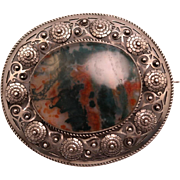 Large Vintage Oval European 800 Silver and Moss Agate Brooch