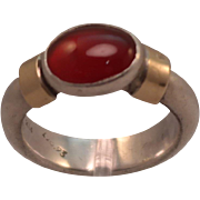 Solid Sterling Silver and 14K East West Carnelian Ring size 6.25