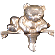 Solid Sterling Silver Teddy Bear on Tree Branch Brooch