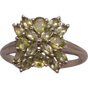 Sterling Silver Natural Peridot Cluster Ring size 9