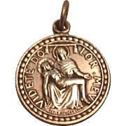 Sterling Silver Vintage Saint Bernard of Menthon Catholic Religious Medal Pendant