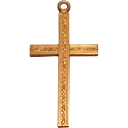 Early 12K Yellow Gold Filled Cross Pendant with Design on Both Sides