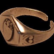 Vintage Sterling Silver Shield Signet Ring with Split Shank