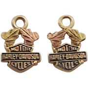 10K Yellow and Rose Gold Harley Davidson Pair of Charms