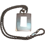 Signed ATI Sterling Silver Bold Rectangle Pendant on 16 inch Popcorn Chain Necklace