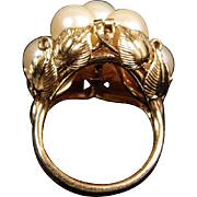 14K Yellow Gold Substantial Cultured Pearl Leaf Gallery Ring size 6.5