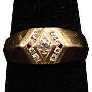 Gent's 14K Yellow Gold and 0.5 Carat Channel Set Diamond Ring size 10.75