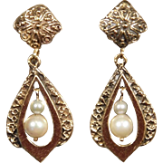 14K Yellow Gold Vintage Pearl Dangle Earrings