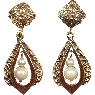 14K Yellow Gold Vintage Pearl Dangle Earrings