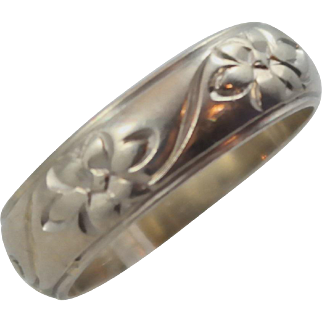 14K White Gold Keepsake 5mm Flower Engraved Eternity Wedding Band Ring size 7
