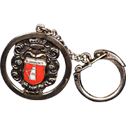 800 Silver and Enamel B.CANNSTATT Shield Key Ring
