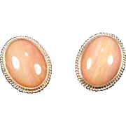 Pink Opal Oval Cabochon & Sterling Silver Post Earrings