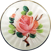 Guilloche Enamel Norway Brooch with Hand Painted Rose in Sterling Silver Vermeil