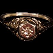 Vintage 14K White Gold Filigree & Diamond Ring or Charm size 1.75