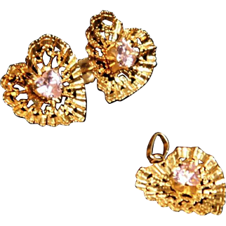 14K Yellow Gold Heart with Pink Crystal Post Earring & Pendant Set