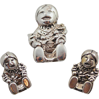 Sterling Silver Carol Felley Navajo Story Teller Pendant / Pin and Earring Set