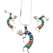 Signed Calvin Begay Inlaid Sterling Silver Kokopelli Pendant and Earring Set