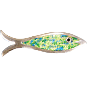 Lovely Vintage Enameled Green & Yellow Fish Signed Conjoined JF Sterling Silver Brooch