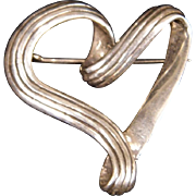 Sterling Silver Open Heart Brooch