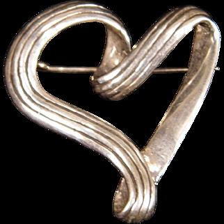 Sterling Silver Open Heart Brooch