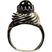 Vintage Domed Sterling Silver & Black Onyx Cabochon Ring size 6