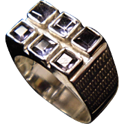 Wide Unisex Shades of Purple 6 Stone Iolite and Amethyst Sterling Silver Ring size 7.5