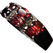 Sterling Silver 6 Oval Garnet & Marcasite Accent Band Ring size 9