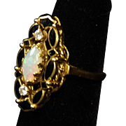 Lovely 14K Yellow Gold Opal and Diamond Ring with Black Enamel size 6