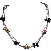Amethyst & Freshwater Pearl Necklace on Purple Cord with Heavy Sterling Silver Catch with 1 3/4 inch Extender