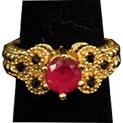 Sterling SIlver Vermeil Faux Ruby & Sapphire Ring size 6.75