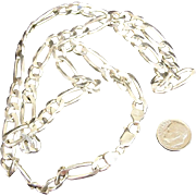"Solid 57 Gram Italian Sterling Silver Figaro 5/16"" Wide 26 inch Long Chain"