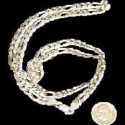 "Solid 20 Gram Italian Sterling Silver Figaro 3/16"" Wide 24 inch Long Chain"