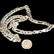 Solid 27 Gram Italian Sterling Silver Figaro 1/4 inch Wide 18.25 inch Long Chain