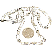 "Solid 14 Gram Italian Sterling Silver Figaro 3/16"" Wide 18 inch Long Chain"