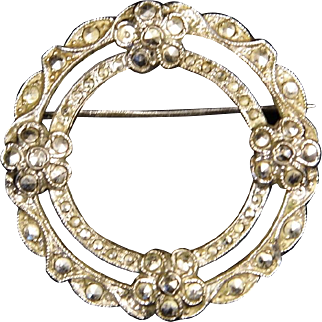 Vintage Sterling Silver and Marcasite Double Circle Pin with Flower Design Brooch