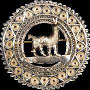 Vintage Sterling Silver Filigree Handmade Llama Brooch