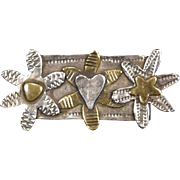 Sterling Silver 3 Flower 2-tone Tack Style Pin