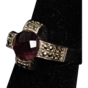 Vintage Sterling Silver Amethyst & Marcasite Ring size 9.25