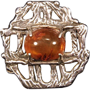 Signed Sterling Silver & Amber Cabochon Art Brooch