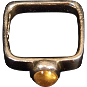 Vintage Signed Sterling Silver Square Band Ring Set with Round Citrine Cabochon size 6.5