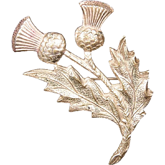 Vintage Silvertone UK-Made Thistle Brooch