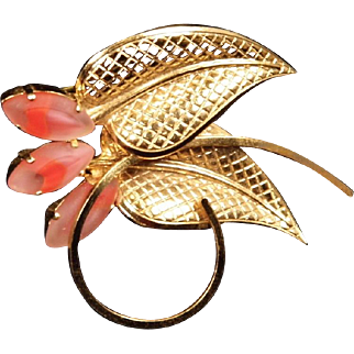 Vintage German Goldtone & Pink Glass Marquis Leaf Brooch