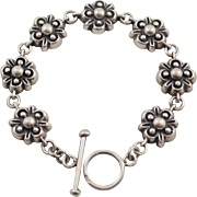 Lovely Heavy Dimensional Sterling Silver Flower Link 7 3/8 inch Toggle Bracelet
