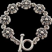 Lovely Heavy Dimensional Sterling Silver Flower Link 7 3/8 inch Toggle Bracelet