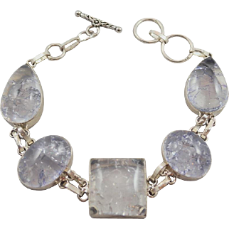 Crackly Clear Stone Silvertone 8.25 inch Bracelet