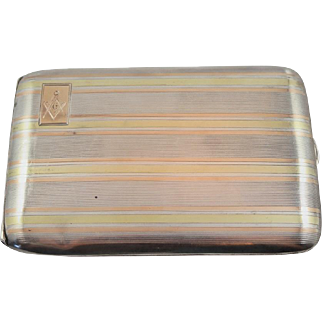 Solid Sterling Silver and 14K Yellow and Rose Gold Freemason Cigarette Case with Engraving 1922